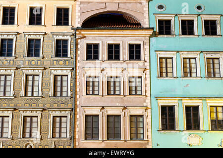 Old architecture of Market Place evening time - Warsaw, Poland - Stock Photo