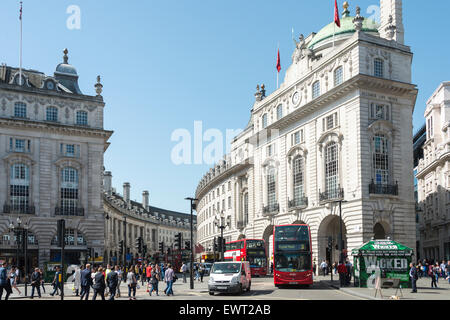 View towards Regent Street from Piccadilly Circus, West End, City of Westminster, London, England, United Kingdom - Stock Photo