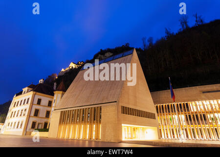 Sunset by parliament building in Vaduz. Vaduz, Liechtenstein - Stock Photo