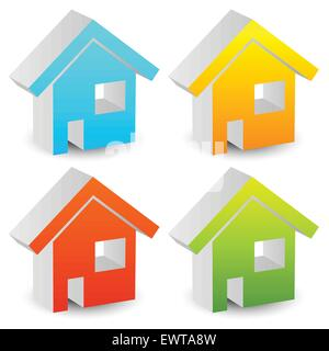 3d house icons in various colors. editable graphics. - Stock Photo