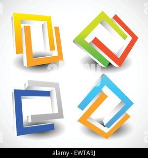 Interlocking colorful U shapes. Generic icons, design elements. Four versions. - Stock Photo