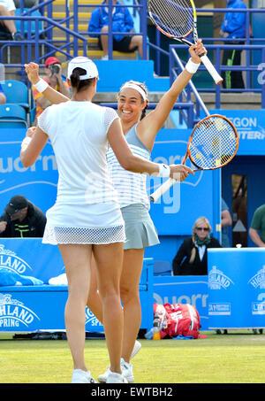 Caroline Garcia (r) and Katarina Srebotnik (l), winners of the Aegon International Doubles trophy at Eastbourne, - Stock Photo