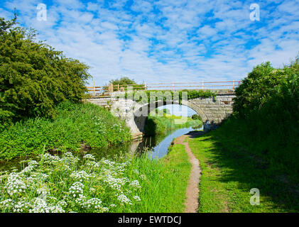 Bridge over the Glasson branch of the Lancaster Canal, near Glasson Dock, Lancashire, England UK - Stock Photo