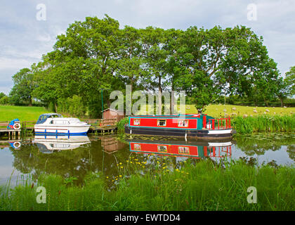 Boats moored on the Glasson branch of the Lancaster Canal, near Glasson Dock, Lancashire, England UK - Stock Photo