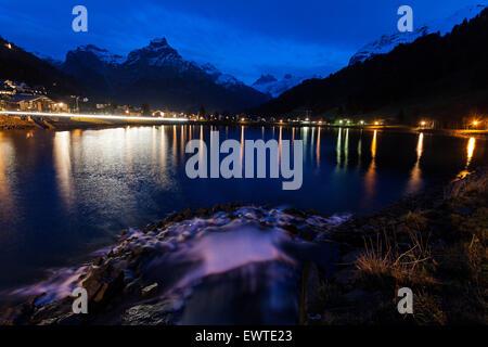 Eugenisee Lake and Engelberg at sunet. Engelberg, Switzerland - Stock Photo
