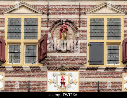 Detailed view of the facade of the City Hall (dating from 1588), in Dutch Renaissance style, Oudewater, Utrecht, - Stock Photo