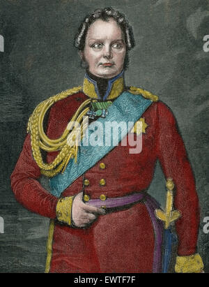 Frederick William IV of Prussia (1795-1861). King of Prusia 1840-1861. Portrait. Engraving by Niedermann. 19th century. - Stock Photo