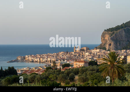 Aerial view of Cefalù in early June 2015. - Stock Photo