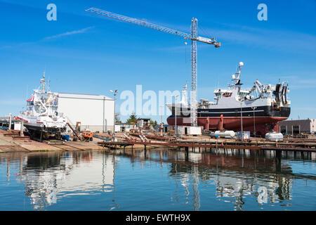Fishing boat in dry dock, Skagen, North Jutland Region, Denmark - Stock Photo