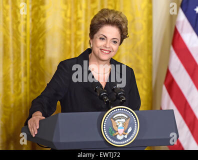Washington DC, USA. 30th June, 2015. President Dilma Rousseff of Brazil holds a joint press conference with United - Stock Photo