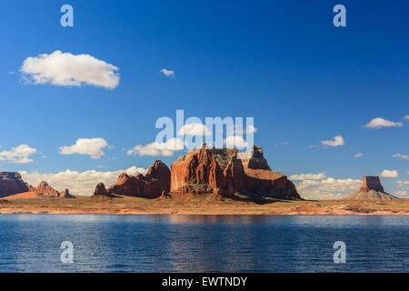 Canyon walls on Lake Powell on the border of Arizona and Utah, USA - Stock Photo