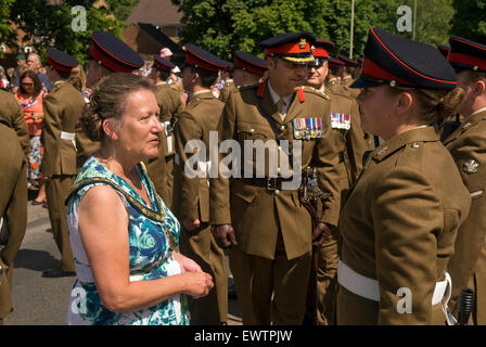 Mayor, Sally Pond, inspecting the troops, Farewell to the Garrison Festival, Bordon, Hampshire, UK. Saturday 27 - Stock Photo