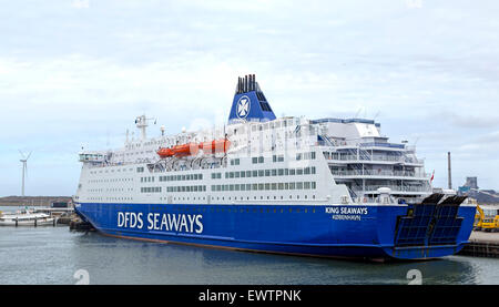 View from Trawlerkade on the DFDS SEAWAYS ferry, moored in the port of  IJmuiden, Vissershaven,  North Holland, - Stock Photo