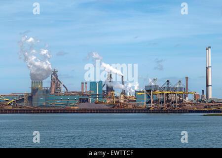 IJmuiden Steelworks or ''Koninklijke Hoogovens en Staalfabrieken'' at IJmuiden,  Locks Velsen, North Holland, The - Stock Photo