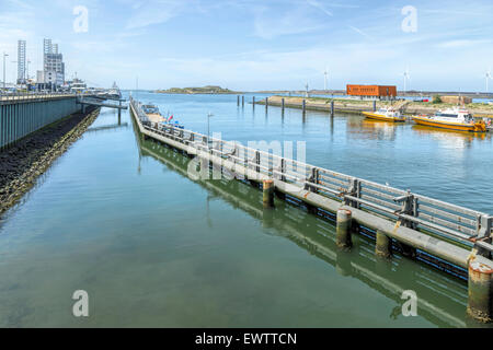 View towards the North Sea from Zuidersluis ( Southern lock ), at Velsen-Noord, IJmuiden, North Holland, The Netherlands. - Stock Photo