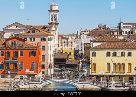 Leaning Campanile and Other Buildings Venice Italy - Stock Photo