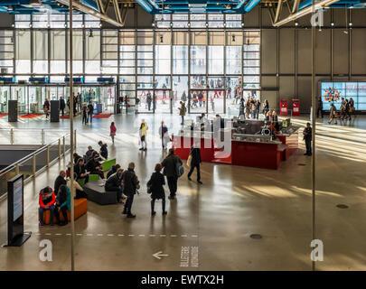 Paris Centre Georges Pompidou, modern and contemporary art gallery interior, National Art museum unusual design - Stock Photo