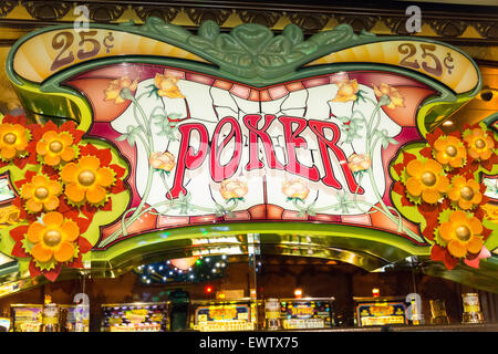 Poker sign in Casino on Royal Caribbean 'Brilliance of the Seas' cruise ship, Baltic Sea, Northern Europe - Stock Photo