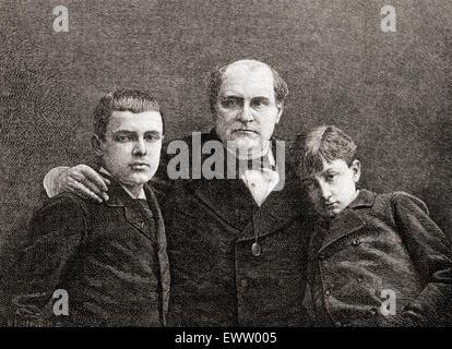 Prince Napoléon Bonaparte with his two sons Victor, 1862-1926 (left) and Louis, 1864–1932 (right). Napoléon Joseph - Stock Photo