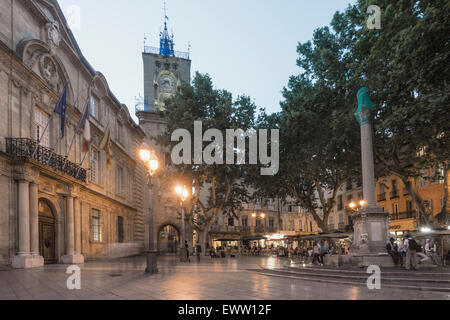 Market Place, Town Hall, Clock Tower,   Aix-en-Provence - Stock Photo