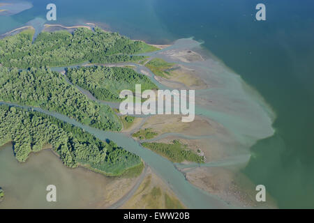 DELTA (aerial view). Tiroler Achen (Großache) river inlet into Lake Chiemsee, Bavaria, Germany. - Stock Photo