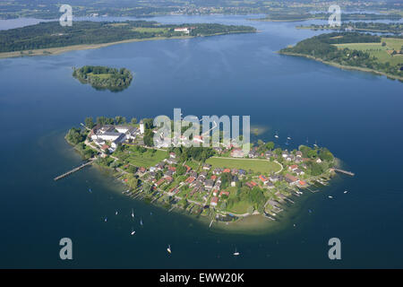 FRAUENCHIEMSEE also FRAUENINSEL ISLAND (aerial view). Lake Chiemsee, Bavaria, Germany. - Stock Photo