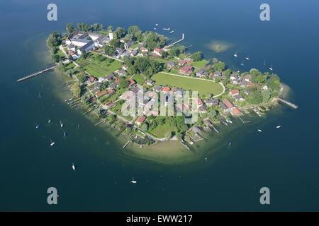 FRAUENCHIEMSEE also FRAUENINSEL ISLAND (aerial view). Lake Chiemsee, Bavaria, Germany. - Stock Photo