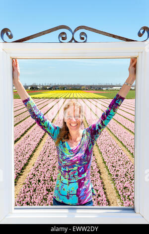 Happy caucasian middle aged woman standing in window at pink flowers field in Holland - Stock Photo