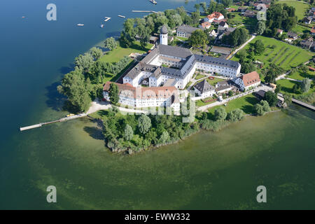 BENEDICTINE ABBEY OF FRAUENWÖRTH (aerial view). Frauenchiemsee (also Fraueninsel) Island, Lake Chiemsee, Bavaria, - Stock Photo
