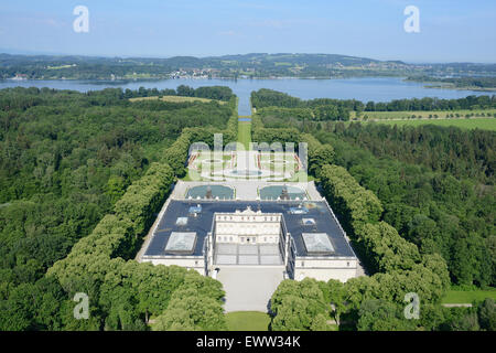 HERRENCHIEMSEE PALACE (aerial view from the east). Herreninsel Island, Chiemsee Lake, Bavaria, Germany. - Stock Photo