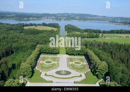 GARDEN OF THE HERRENCHIEMSEE PALACE (aerial view). Herreninsel Island, Chiemsee Lake, Bavaria, Germany. - Stock Photo
