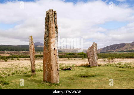 Neolithic standing stones of red sandstone at Machrie Moor stone circles on Isle of Arran North Ayrshire Strathclyde - Stock Photo