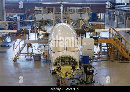 Piaggio Aero plant in Genoa (Italy), building of Avanti II business aircraft - Stock Photo