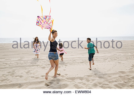 Family flying kite on sunny beach - Stock Photo