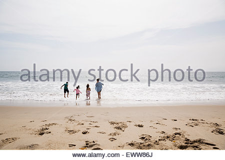 Family playing and wading in ocean sunny beach - Stock Photo