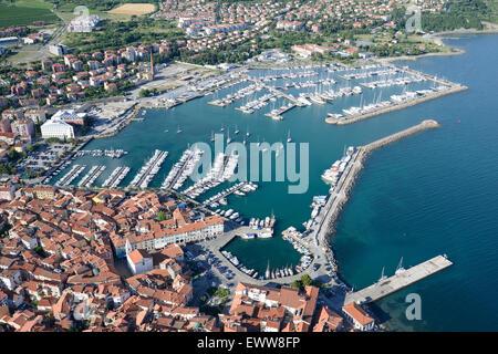 MARINA OF IZOLA (aerial view). City of Izola (also Isola, its Italian name). Slovenia. - Stock Photo