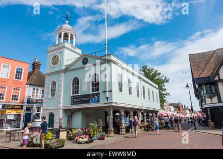 Busy Market Day by the Guildhall in Faversham Town Centre Kent - Stock Photo