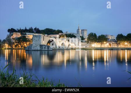 Avignon, Pont St Benezet,  Bridge, Palais Des Papes, Bouche du Rhone, France - Stock Photo