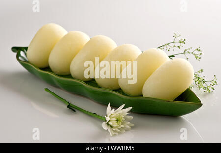 Soft & Juicy Chum Chums in Green Dish - Stock Photo