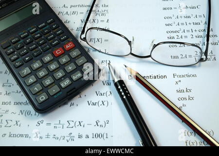 Eye Glasses, Pen And Pencil Over The Formula With Calculator Stock ...