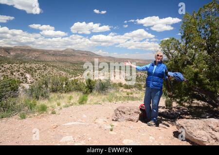 Senior Citizen at top of mesa at Kasha-Katuwe National Monument New Mexico - USA - Stock Photo