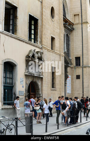 French Students pupils oustide Lycee Ampere college in Lyon France - Stock Photo