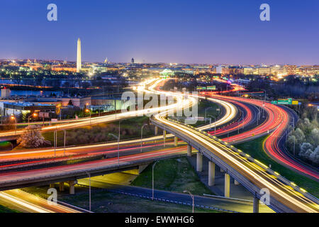 Washington, DC, USA  skyline at night. - Stock Photo