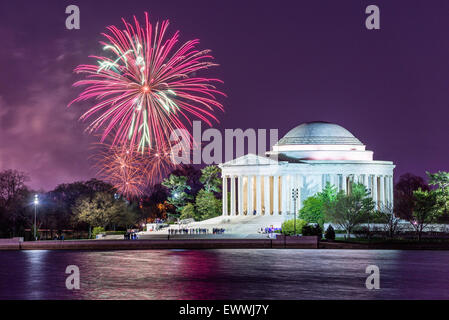 Washington DC, USA tidal basin fireworks. - Stock Photo