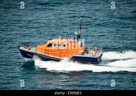 Padstow Lifeboat carrying out search and rescue operation around Trevose head and the Camel Estuary. Cornwall UK - Stock Photo