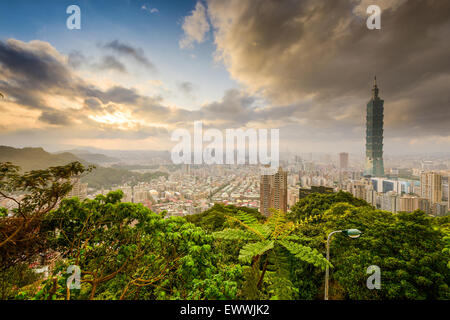 Taipei, Taiwan skyline at sunset. - Stock Photo