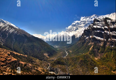 Amazing view of the Himalayas from Upper Pisang on the Annapurna circuit, Nepal - Stock Photo