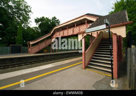 Hagley Station footbridge, Midlands - UK - Stock Photo