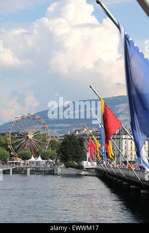 Giant wheel in Geneva, Switzerland - Stock Photo