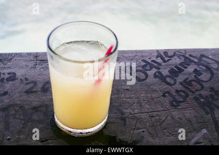 A pineapple coconut rum drink called the Panty Ripper at the Palapa bar, in San Pedro, Belize - Stock Photo
